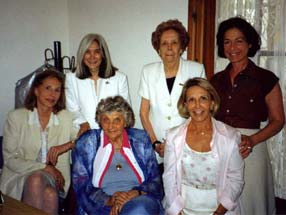 Fundación J.L. Borges, dec. 2002. Maria Kodama, Ana María, Evelyne Bissone Jeufroy, Irene Lawson, Anne Ancelin Schutzenberger, Laura Bertone